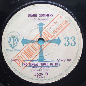 """Joanie Sommers - Don't pity me - WB (Argentina 33rpm 7"""" + sleeve) - VG+"""