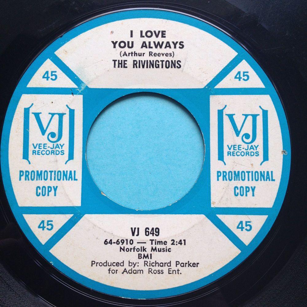 Rivingtons - I love you always b/w Years of tears - VJ promo - VG+