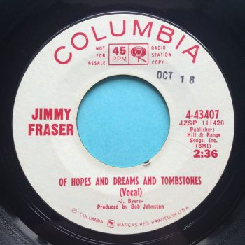 Jimmy Fraser - Of hopes and dreams and tombstones - Columbia promo - strong VG+