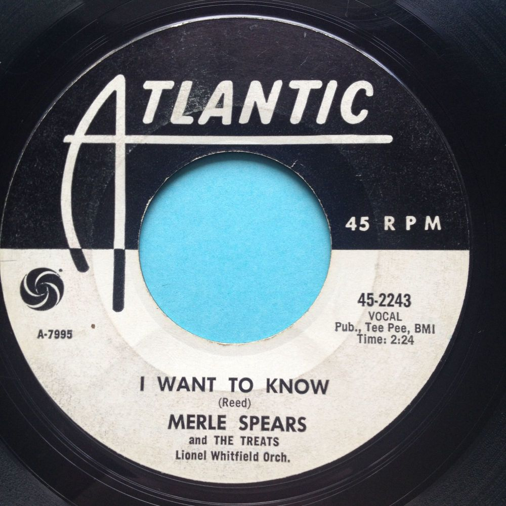 Merle Spears - I want to know - Atlantic promo - VG+