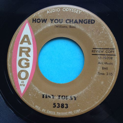 Tiny Topsy - How you changed b/w Working on me baby - Argo promo - VG+ (wol