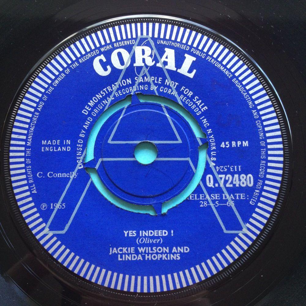 Jackie Wilson and Linda Hopkins - Yes Indeed - U.K. Coral demo - Ex
