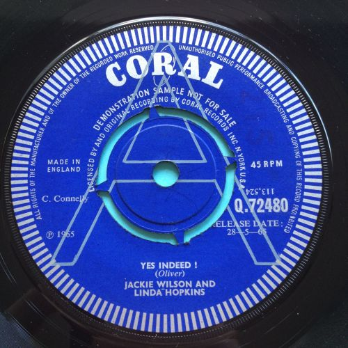 Jackie Wilson and Linda Hopkins - Yes Indeed - U.K. Coral demo - Ex