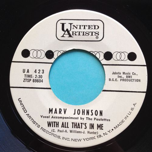 Marv Johnson - With all that's in me - UA promo - Ex