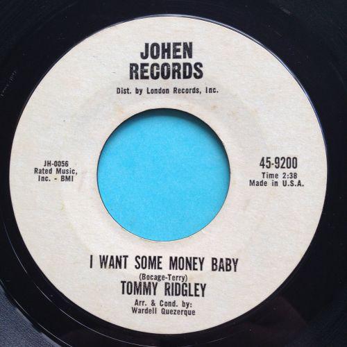 Tommy Ridgley - I want some money baby - Johen promo - VG+