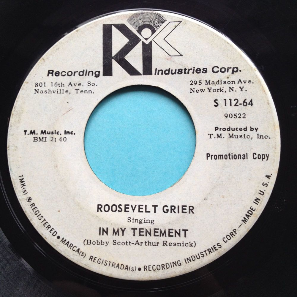Roosevelt Grier - In my tenement b/w Down so long - R.I.C. promo - VG+