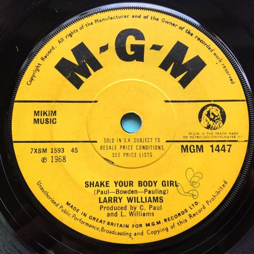 Larry Williams - Shake your body girl - U.K. MGM - Ex