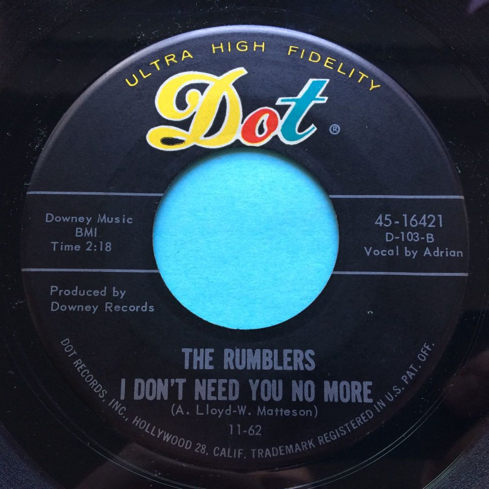 Rumblers - I don't want you no more b/w Boss - Dot - Ex