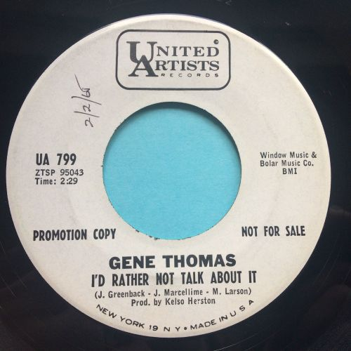 Gene Thomas - I'd rather not talk about it - United Artists promo - Ex
