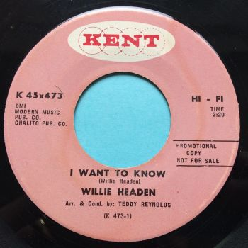 Willie Headen - I want to know - Kent promo - VG+