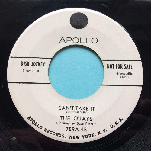 O'Jays - Can't take it b/w Miracles - Apollo promo - Ex-