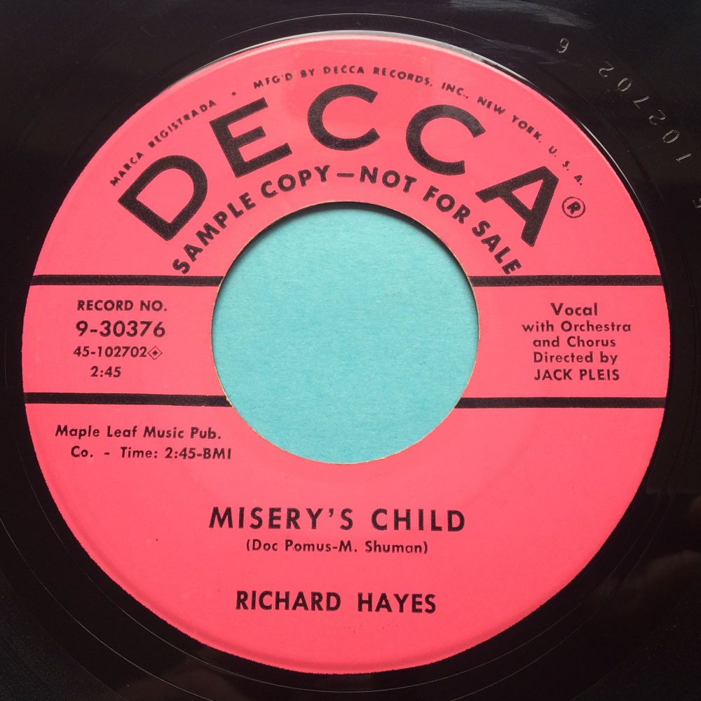Richard Hayes - Misery's Child - Decca promo - Ex-