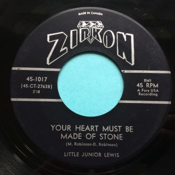 Little Junior Lewis - Your heart must be made of stone b/w Can she give me fever - Zirkon (Canadian) - Ex / VG+
