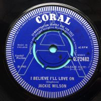 Jackie Wilson - I believe I'll love on b/w Lonely Teardrops - U.K. Coral demo - Ex-