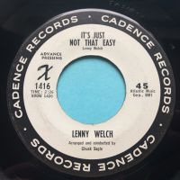 Lenny Welch - It's just not that easy b/w Mama don't hit that boy - Cadence promo - Ex