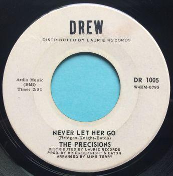 Precisions - Never let her go b/w A place - Drew promo - Ex-