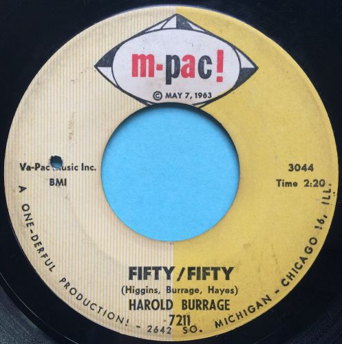 Harold Burrage - Fifty / Fifty - M-Pac - VG (please listen to clip & read d