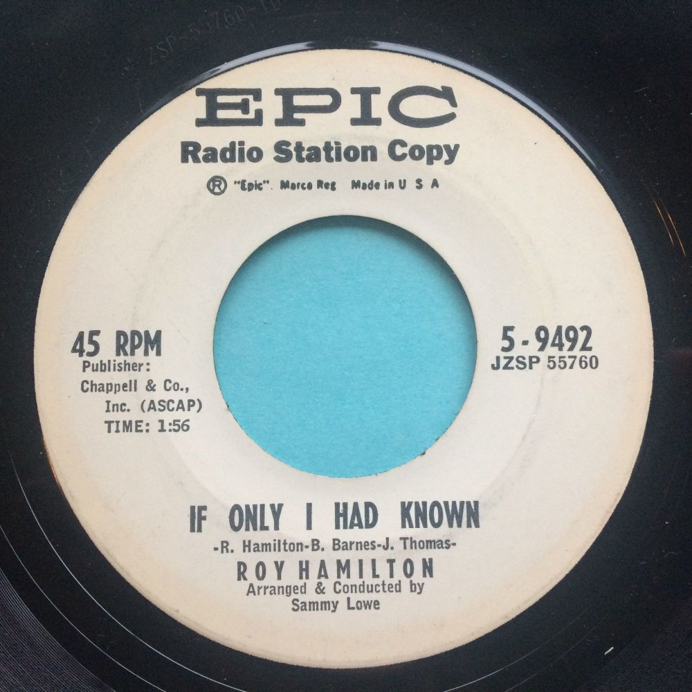 Roy Hamilton - If only I had known b/w Don't come cryin' to me - Epic promo - Ex