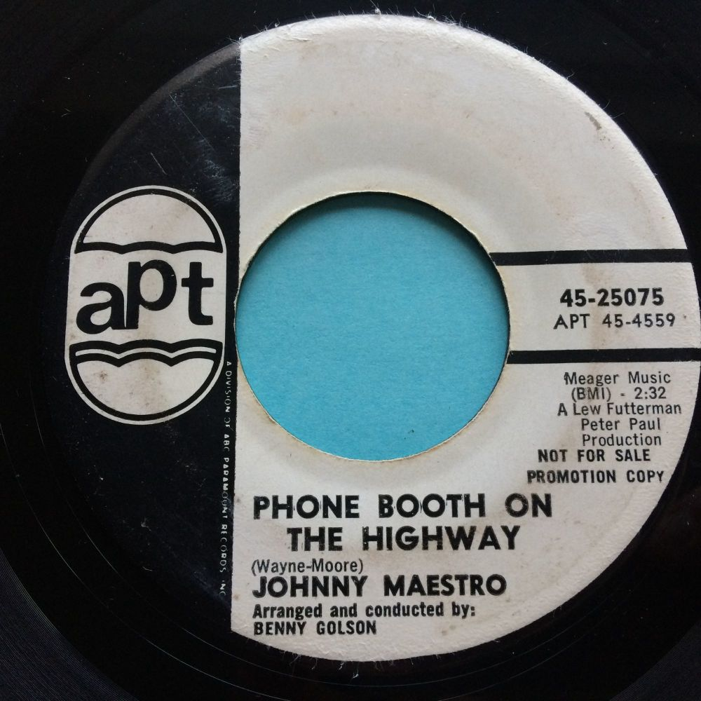 Johnny Maestro - Phone booth on the highway b/w She's all mine alone - APT promo - VG- (but plays strong VG+)