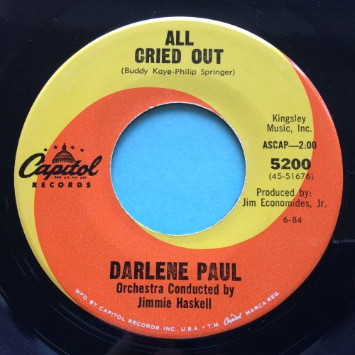 Darlene Paul - All cried out - Capitol - Ex