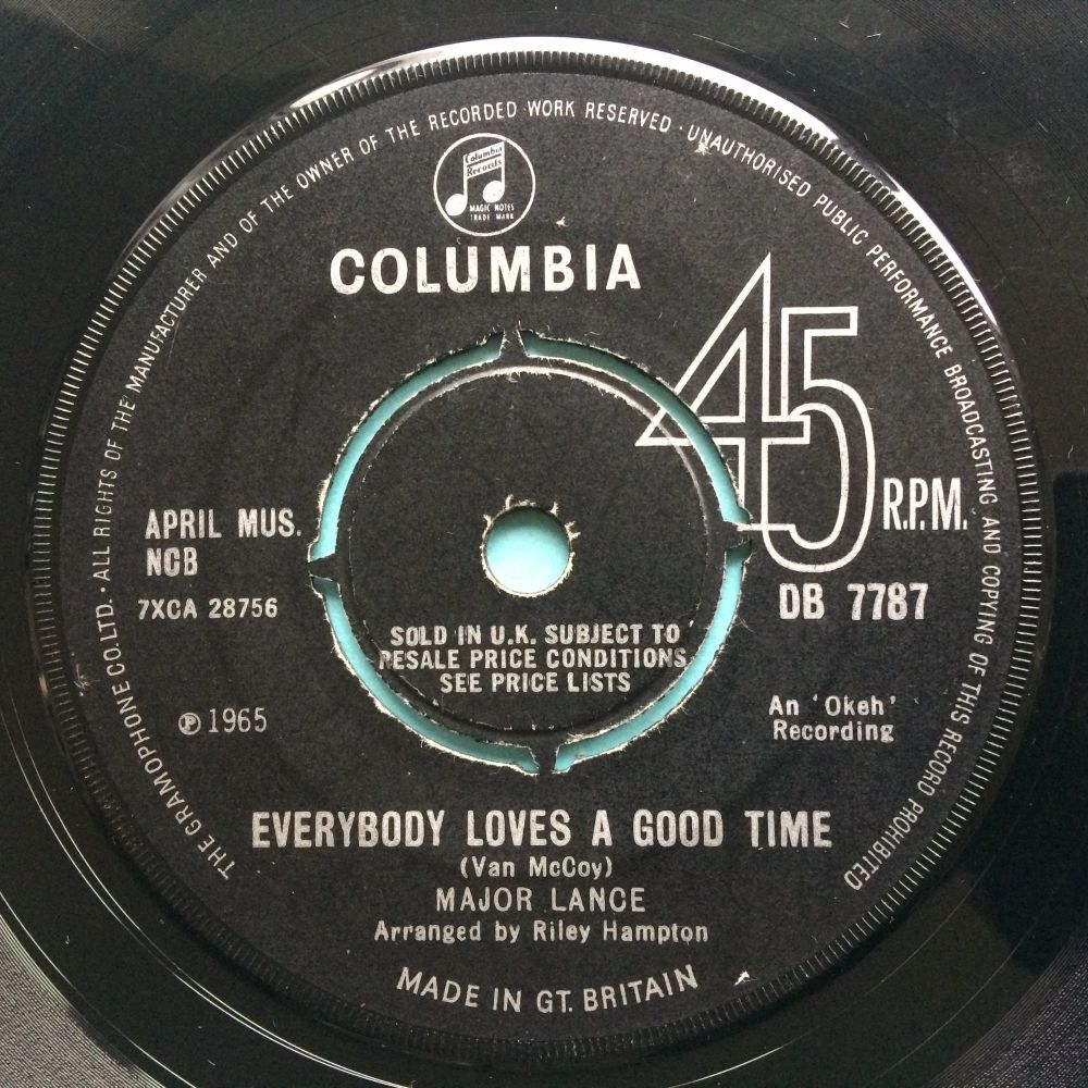 Major Lance - Everybody loves a good time b/w I just can't help it - U.K. Columbia - VG+