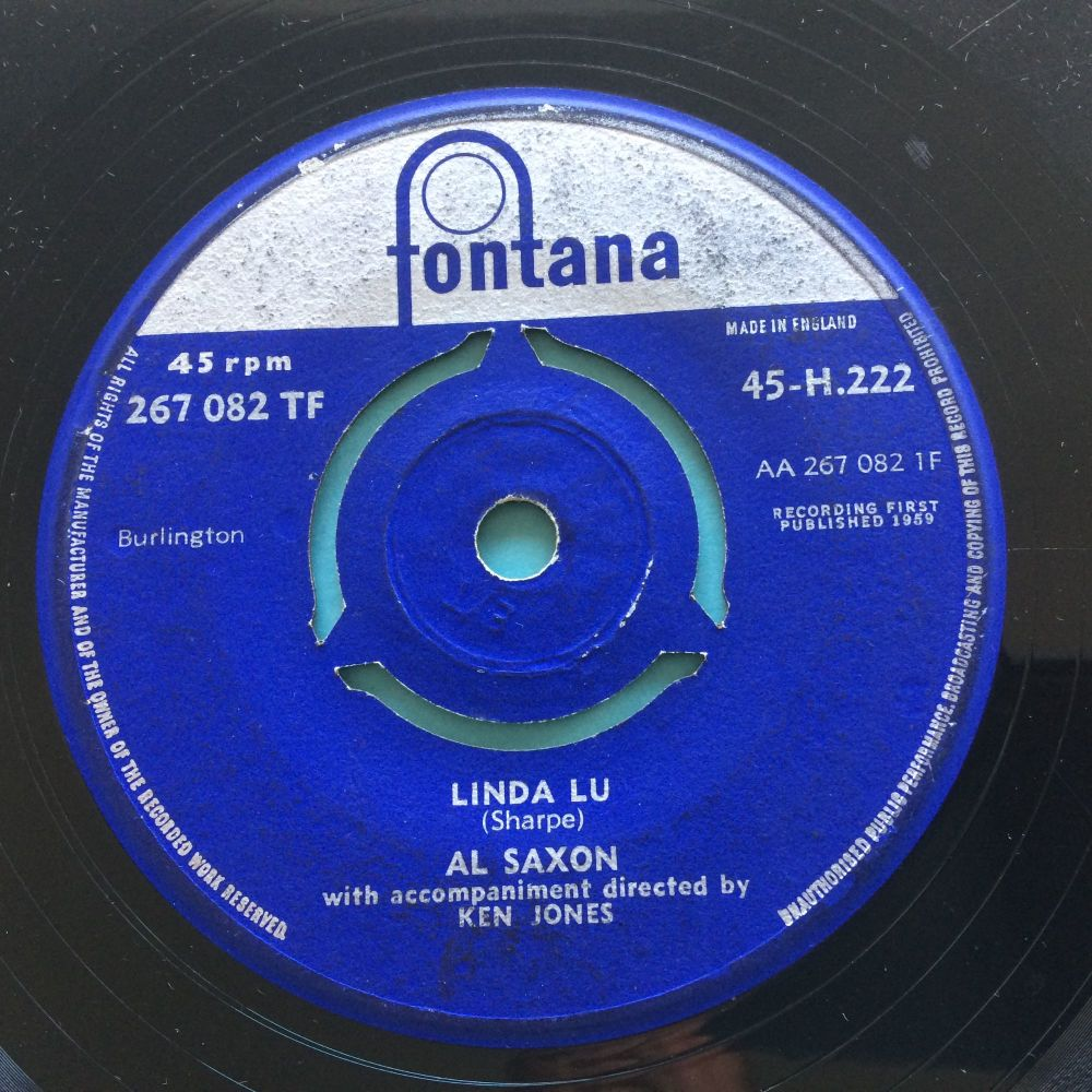 Al Saxon - Linda Lu b/w Heart of stone - U.K. Fontana - VG+