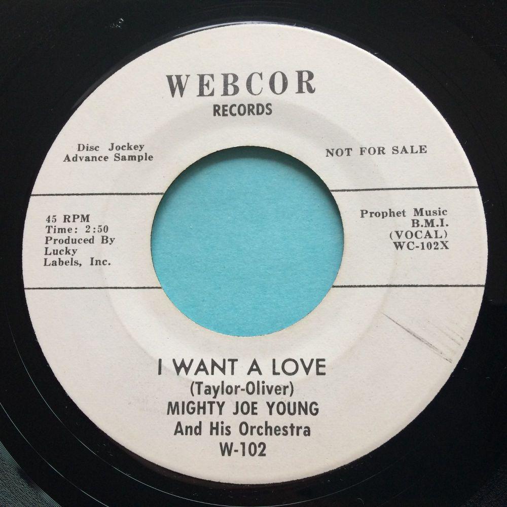 Mighty Joe Young - I want a love b/w Hey Baby - Webcor promo - Ex