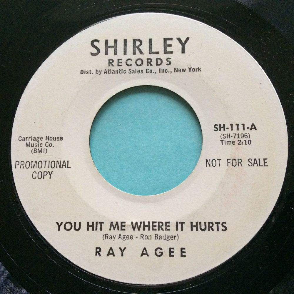 Ray Agee - You hit me where it hurts - Shirley promo - VG+