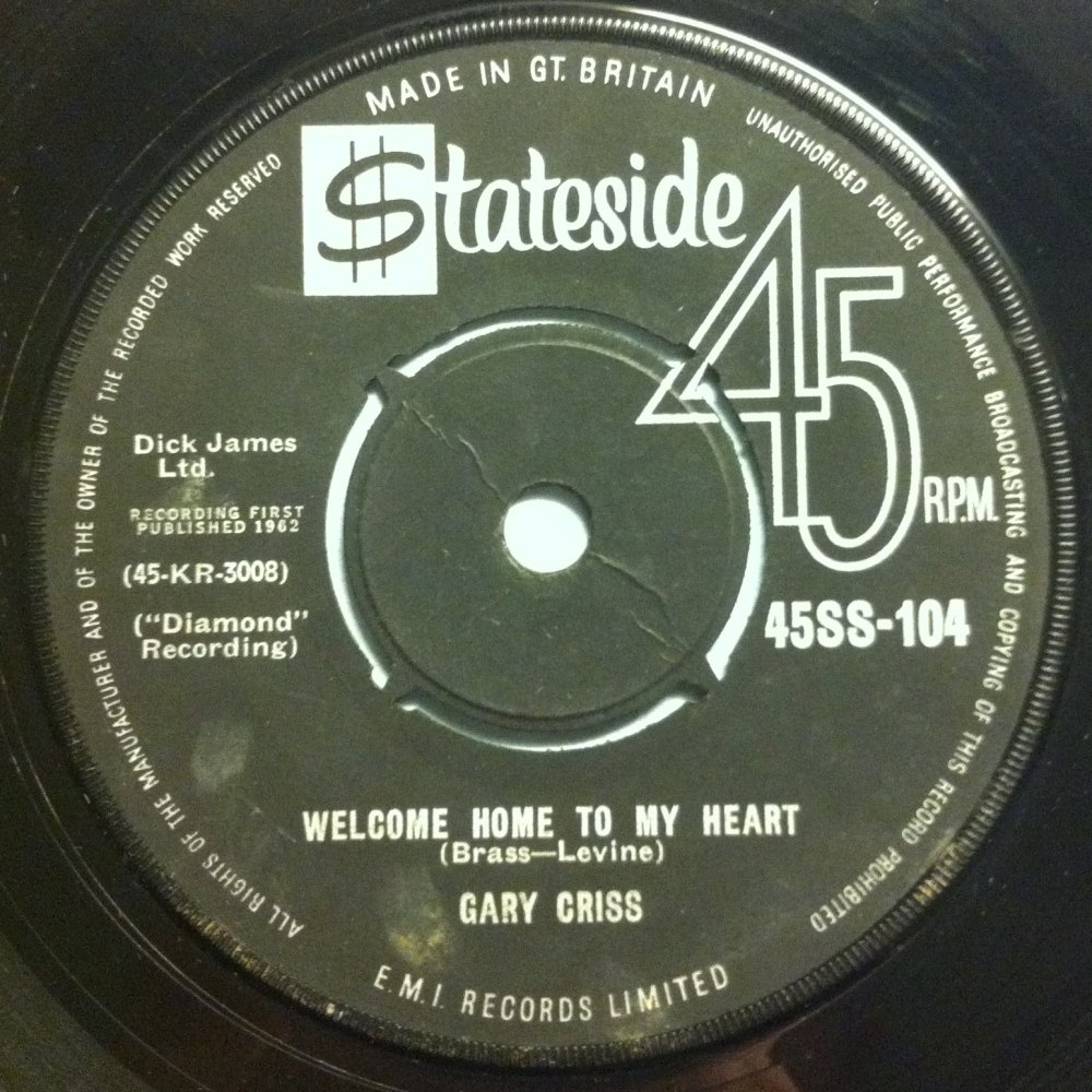Gary Criss - Welcome home to my heart - Stateside UK - Ex