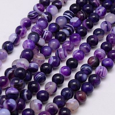 1 Purple Agate bead 8mm