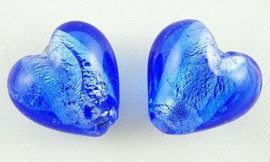 1 Blue Handmade Silver Foil Glass Beads Heart about 12mm in diameter, 8mm t