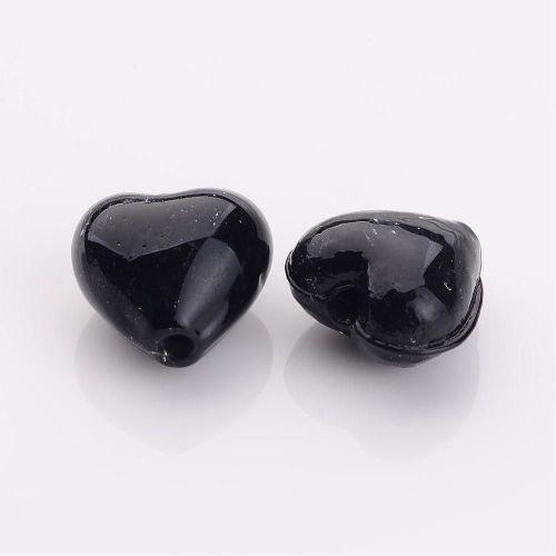 1 Black Handmade Silver Foil Glass Beads Heart 12x12x8mm, Hole: 2mm