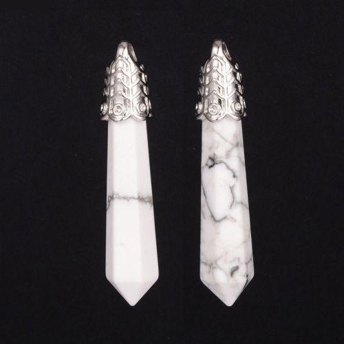 1 Natural Bullet Gemstone Point Big Pendants, Cadmium Free & Lead Free, wit