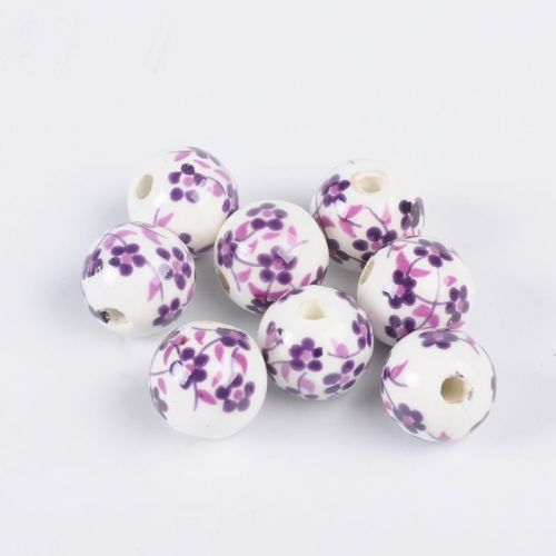 1 Handmade Printed Porcelain Bead Round Purple 12mm Hole: 3mm