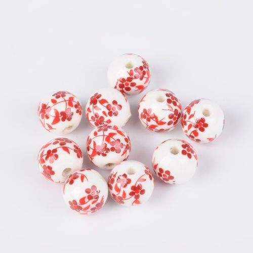 1 Handmade Printed Porcelain Beads Round Red 12mm, Hole: 3mm
