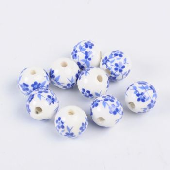 1 Handmade Printed Porcelain Beads Round DodgerBlue Size: about 12mm in diameter hole: 3mm