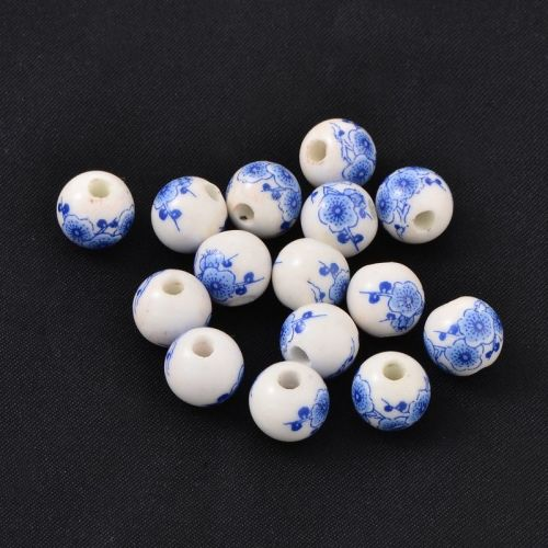 1 Handmade Blue and White Porcelain Bead Round Blue about 10mm in diameter,