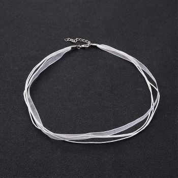 1 Jewelry Making Necklace Cord, Organza Ribbon & Cotton Wax Cord & Silver Color Iron Clasp, White, 430x6mm