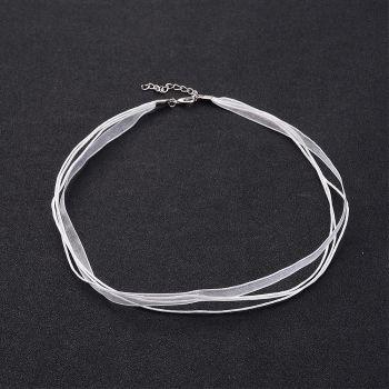Necklace Organza Ribbon & Cotton Wax Cord, White, 430x6mm