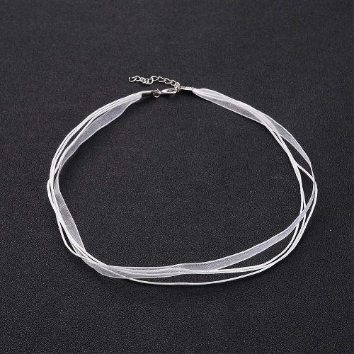 1 Jewelry Making Necklace Cord, Organza Ribbon & Cotton Wax Cord & Silver C