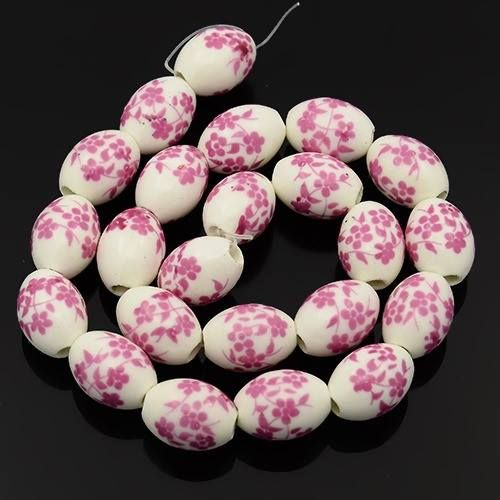 1 Handmade Flower Printed Porcelain Oval Beads PearlPink, 16x11mm, Hole: 3m