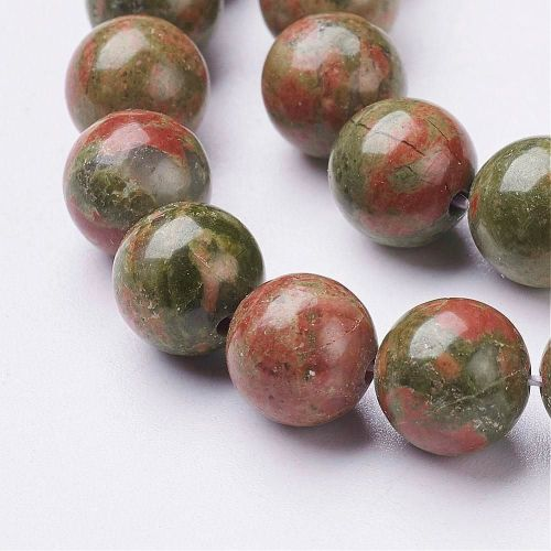1 Strand Gemstone Beads, Natural Unakite, Round Size: about 8mm in diameter