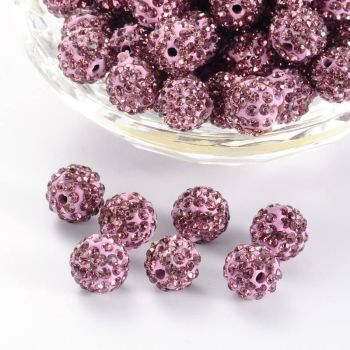 1 Pave Disco Ball Beads, Polymer Clay Rhinestone Beads, Round, Light Amethyst, 10mm, Hole: 1.5mm