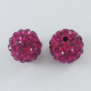 1 Pave Disco Ball Beads, Polymer Clay Rhinestone Beads, Round, Fuchsia, 10mm, Hole: 1.5mm
