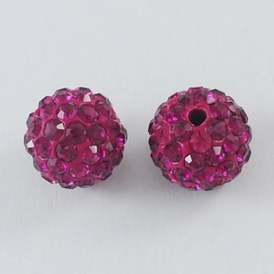 1 Pave Disco Ball Beads, Polymer Clay Rhinestone Beads, Round, Fuchsia, 10m
