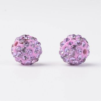 1 Glass Rhinestone Clay Pave Round Beads, Violet, 10mm, Hole: 2mm