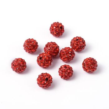 1 Pave Disco Ball Beads, Polymer Clay Rhinestone Beads, Round, Light Siam, 10mm, Hole: 1.5mm