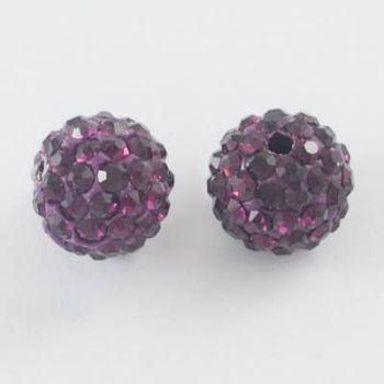 1 Disco Ball Beads, Polymer Clay Rhinestone Beads, Round, Amethyst, 8mm, Hole: 1mm