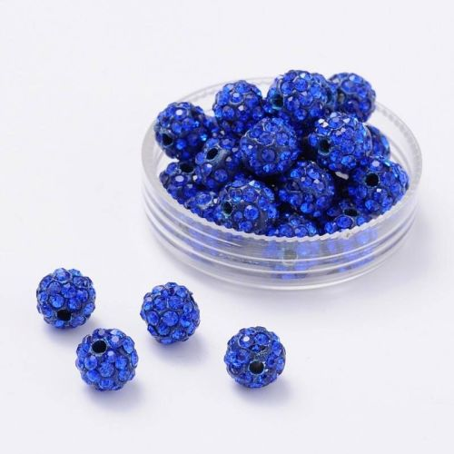 1 Disco Ball Beads, Polymer Clay Rhinestone Beads, Round, Sapphire, 8mm, Ho