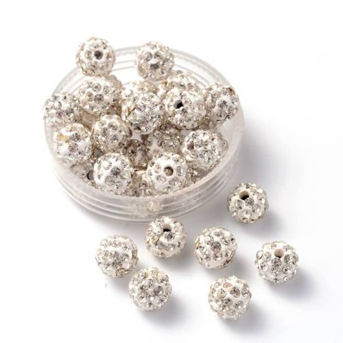 1 Disco Ball Beads, Polymer Clay Rhinestone Beads, Round, Crystal, 8mm, Hol